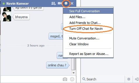 Chat off for specific friend
