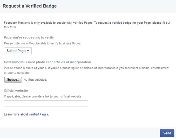Facebook Contact Page for Page Verification